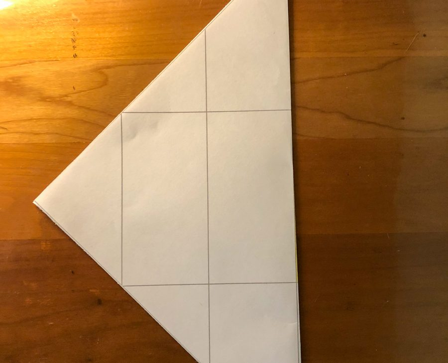 Seed packet folded diagonally